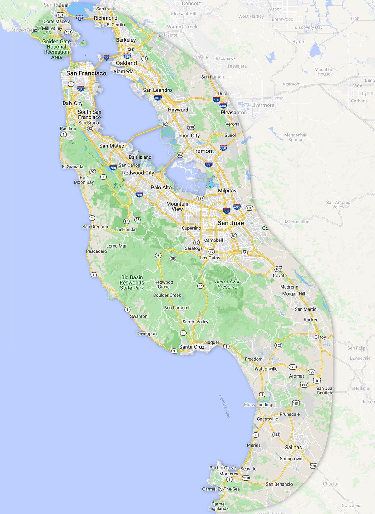 V's Demolition service area map