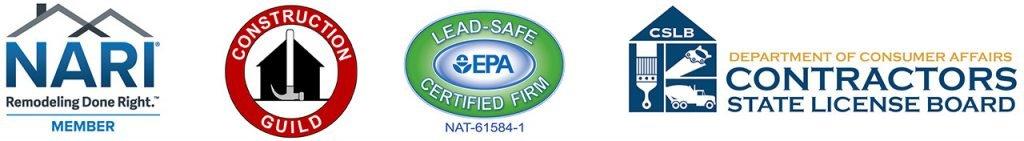 NARI, Construction Guild, EPA Certified, CSLB logos