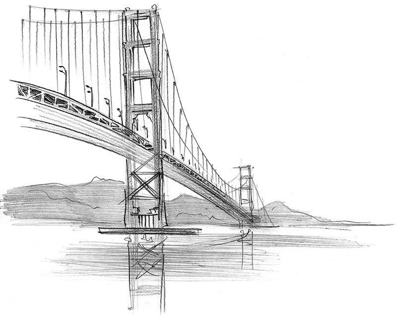 Golden Gate Bridge pencil sketch